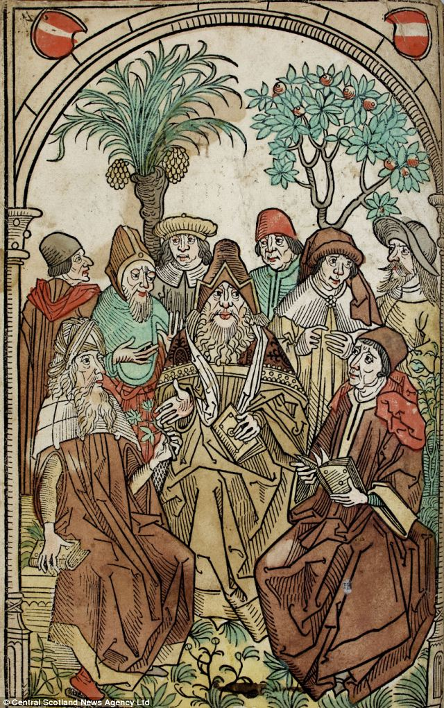 A woodcut illustration of a group of intellects deep in discussion on a medical or botanical matter