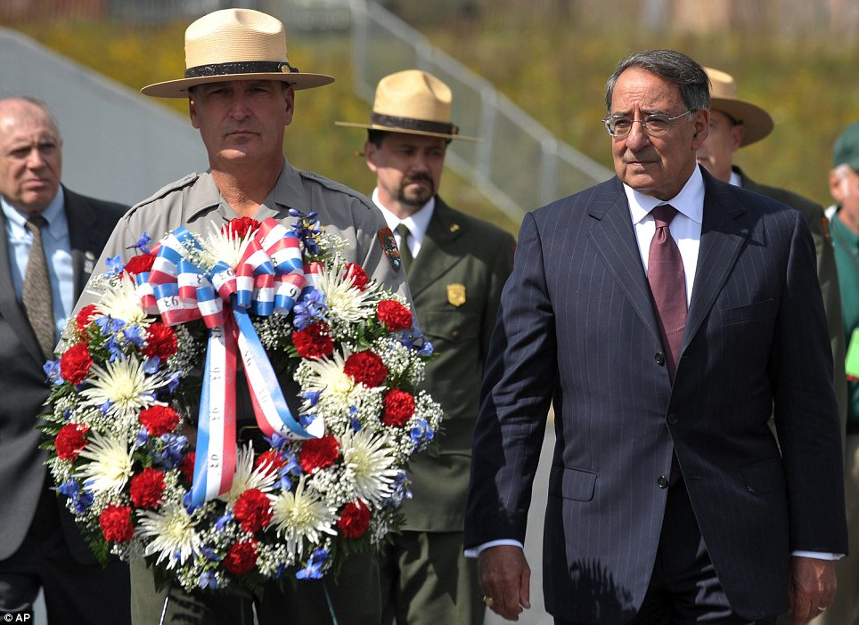 Visit: Leon Panetta was in Shankville, Pennsylvania on Monday paying tribute to those who died on Flight 93