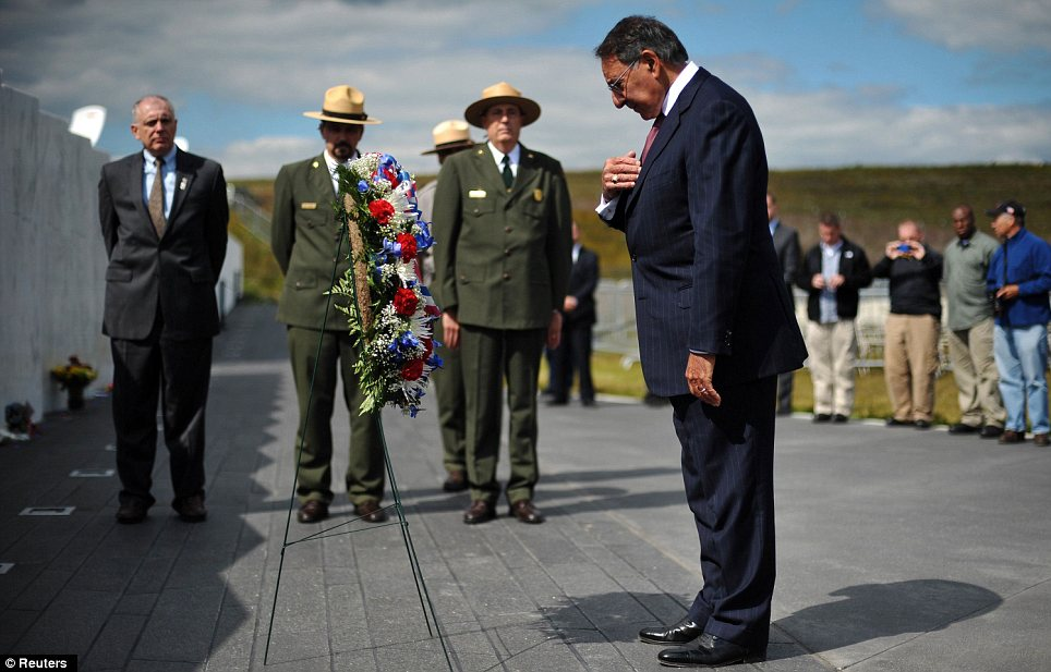 Ceremony: The Secretary of Defense laid a wreath at the memorial near to where the flight crashed 11 years ago