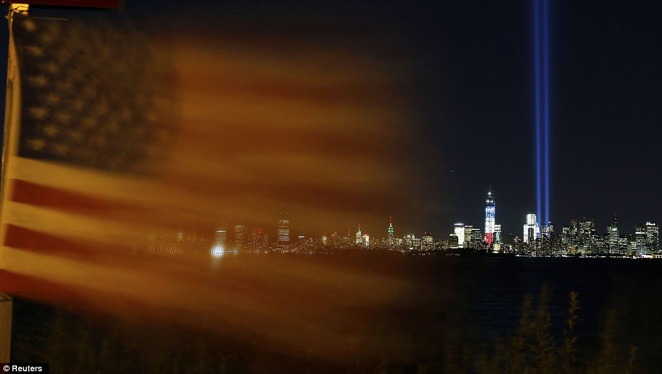 Tribute: Every year beams of light are shot into the sky to commemmorate the anniversary of the terror attacks