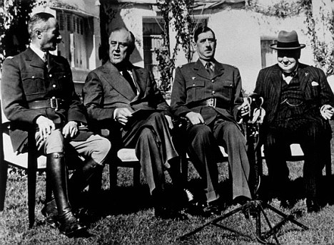 January 1943: General Henri Giraud, President Franklin Delano Roosevelt, General Charles de Gaulle and Winston Churchill at the Casablanca Conference. Researchers now believed they may have all shared personality traits with psychopaths.
