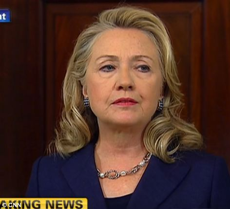 Attack: Hillary Clinton speaks in reaction to the killing of the US Ambassador to Libya, John Christopher Stevens