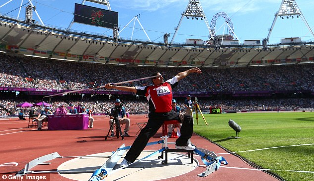 Competing: Ibrahim Ibrahim of Egypt takes part in the Men's Javelin at the Olympic Stadium during the London Paralympic Games