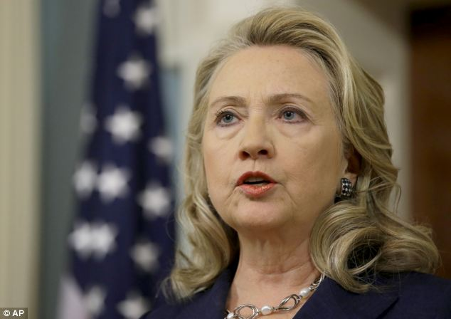 Attack: Hillary Clinton speaks in reaction to the killing of the US Ambassador to Libya, who she swore into office earlier this year