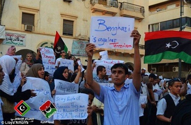 Libya Alhurra TV posted images on Facebook of Pro-American supporters taking to the streets in Libya today to distance themselves from the rocket attack which killed Chris Stevens
