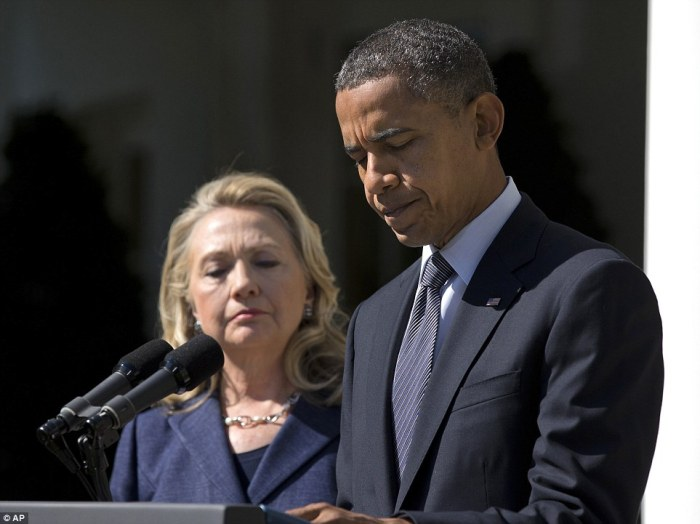 Solemn moment: President Obama, accompanied by Secretary of State Hillary Clinton, spoke in the Rose Garden Wednesday about the death of U.S. ambassador to Libya Christopher Stevens
