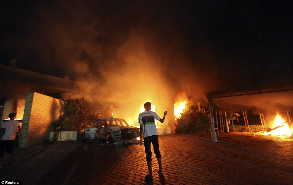 Inside job: Investigators are looking into the possibility that the attack on the U.S. Consulate in Benghazi Tuesday night, pictured, was aided by a spy