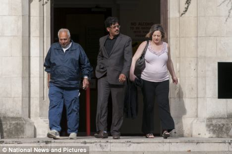 'Vile words': Kuldeep Chail (centre) was drunk when he made the threats about his girlfriend (right), his solicitor said