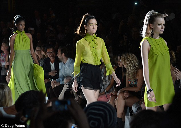 Electric dreams: Vivid green made a splash at the show