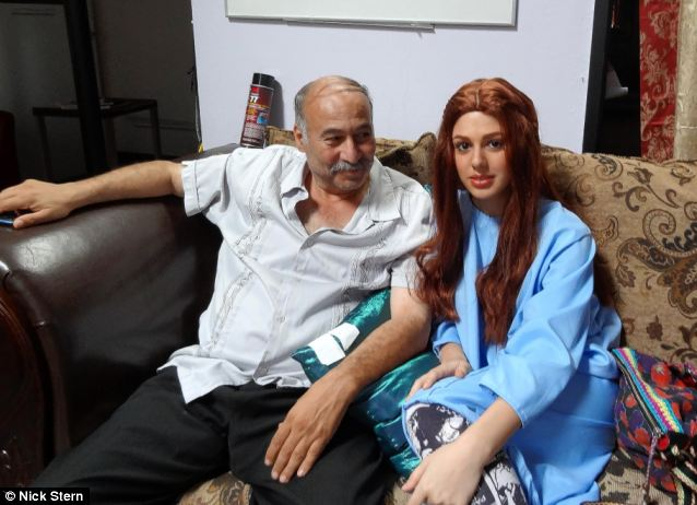 Conman: Nakoula Basseley Nakoula on the set of the film with Ms Gurji in a red wig