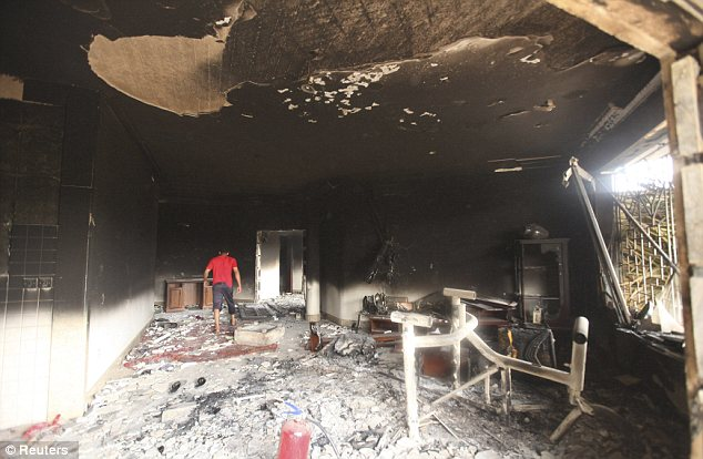 Burned out: Little is left in the U.S. consulate in Benghazi following the devastating attack by militants that left four Americans dead