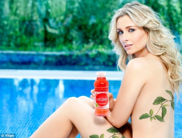 Natural beauty: Gemma Merna strips off to promote the new zero-calorie Vitzer multivitamin soft drink