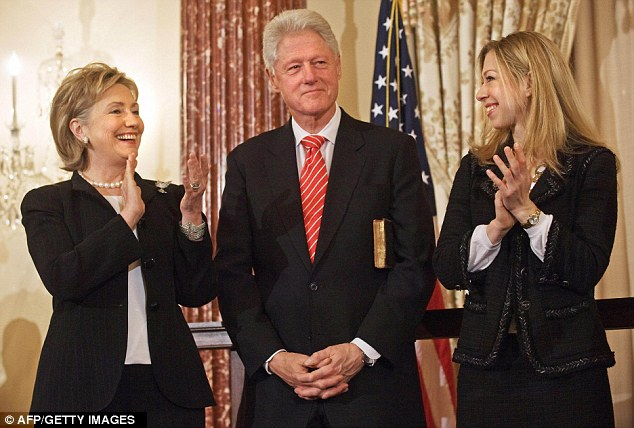 'Nightmare': Lewinsky's friends believe the book could rock Clinton's marriage to Hillary, left, who he called a 'cold fish' during the affair. They are also pictured with daughter Chelsea
