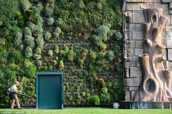 largest vertical garden Wall of beauty: Shopping centre combines fashion and