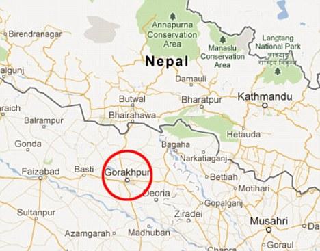 Aislado: El supuesto incidente ocurrió cerca de la casa de la familia en el pueblo de Gorakhpur, en las afueras de Adiala de Pakistán