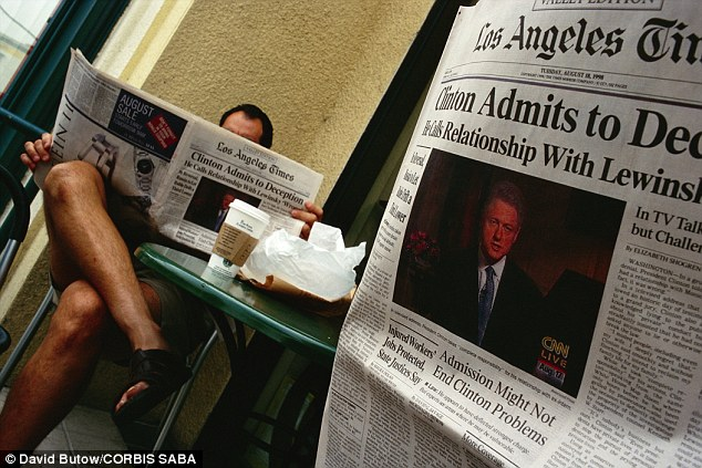 Coming clean: People in California in August 1998 read papers the day after Clinton admitted to the affair