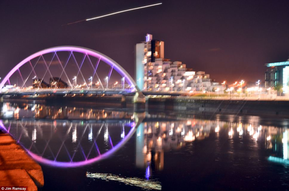 Jim Ramsay, 44, spotted the bright light while taking pictures of the night sky near Squinty Bridge in Glasgow city centre