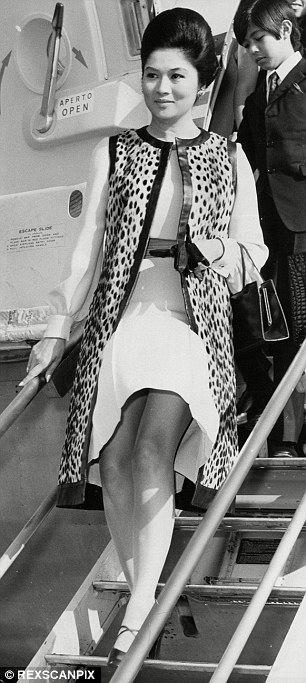 Extravagant: Imelda Marcos, seen here in 1970 dropping her son off at school in England, claimed many of the shoes were gifts from Filipino shoemakers in suburban Marikina city, the country's shoe-making capital
