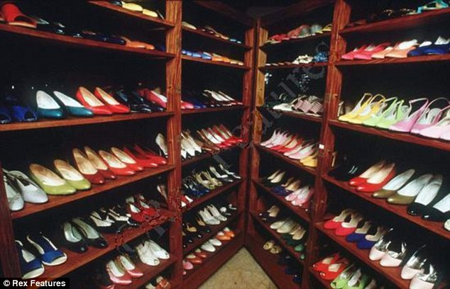 Impressive: Just some of the 3,000 plus shoes in the former First Lady's collection