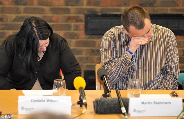 Distraught: Megan Stammers' mother Danielle Wilson and father Martin Stammers can't hold back the tears as they speak to the media at Sussex Police Headquarters, Lewes