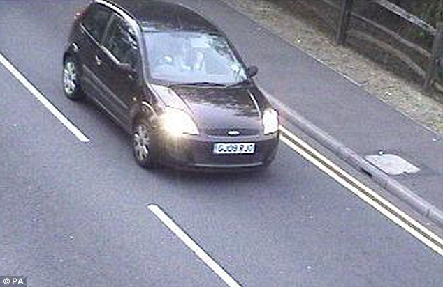 Sighting: Sussex Police issued this picture of the Ford Fiesta driven by Jeremy Forrest to Dover, with Megan Stammers also inside