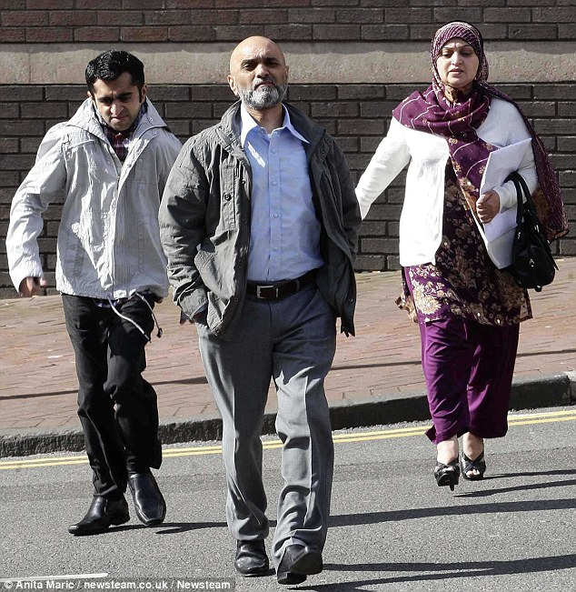 Killers: Mohammed Tauseef Mumtaz (left) and his parents, pictured before a previous court hearing in April, were all convicted of murdering Naila Mumtaz