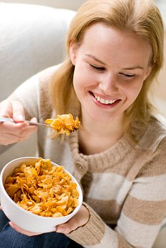 Important: In the USA, and much of Europe, corn is used to make an array of food products including cornflakes (picture posed by model)