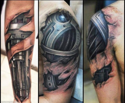 Man vs. machine: The bionic arms and biceps are a popular request from Yomico Moreno