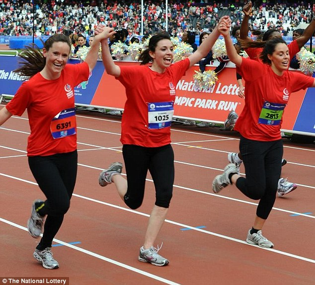 'It was unbelievable': Clarissa (middle) takes part in the National Lottery Olympic Park Run