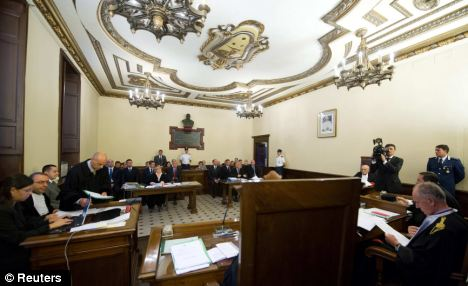 Small courtroom: only eight journalists are allowed in to the Vatican tribunal at a time and members of the public would need the judges' permission to attend