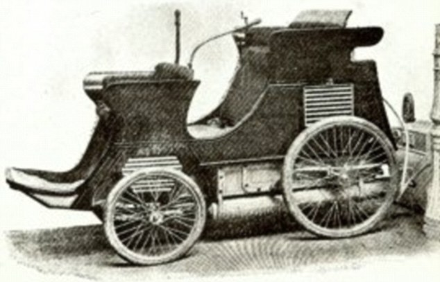 One of Dunkley's earlier models was a 'Patent Self-charging Gas Motor Car', pictured, which took its supply of gas from any ordinary gas pipe or street lamp post, as shown to the right