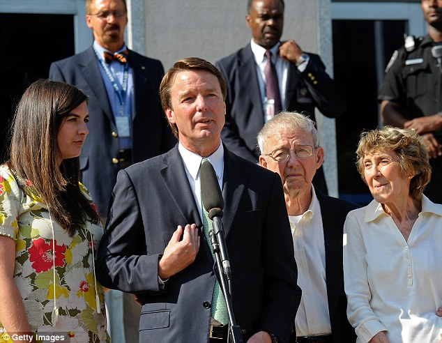 Not guilty:John Edwards addresses the media alongside his daughter Cate Edwards and his parents Wallace and Bobbie Edwards after being cleared in court in Greensboro, North Carolina. on May 31