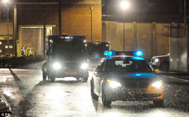 A cavalcade of police vehicles believed to be carrying Abu Hamza leaves HMP Long Lartin in Worcestershire tonight