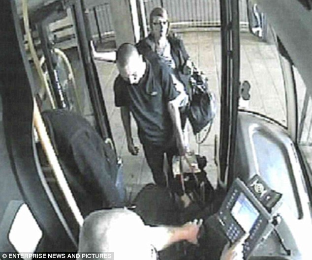 The three killers are seen getting on to a bus, including Cooke at the back, carrying bags full of their victim's blood-stained clothing after the attack