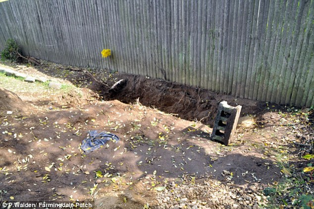 Secret burial: The body of a 17-month-old boy was found buried in this 3-foot-deep grave in a Long Island home's backyard on Saturday