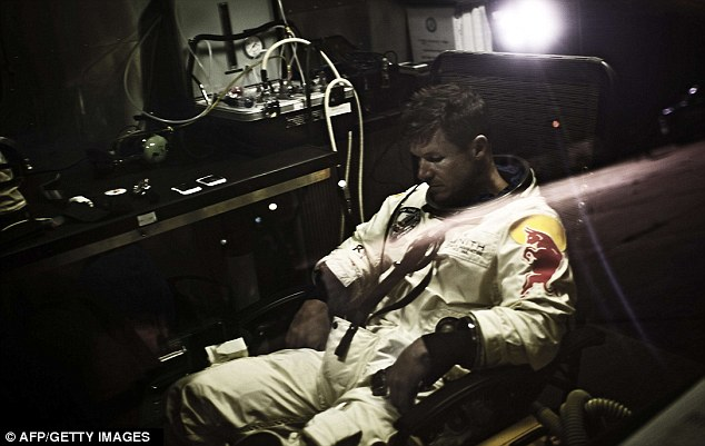 Thinking space: Austrian sky-diver Felix Baumgartner sits in his trailer during the preparations for the final manned flight of the Red Bull Stratos mission in Roswell, New Mexico on Saturday