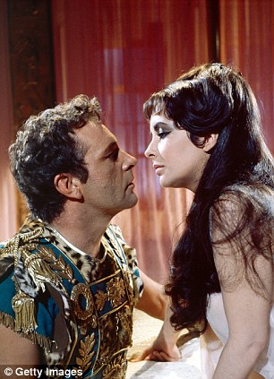 Loves of her life: Liz Taylor, left with Cleopatra co-star, and fifth (and sixth) husband Richard Burton; right, with husband John Warner, whom she married in 1976 - the same year her second marriage to Burton had ended