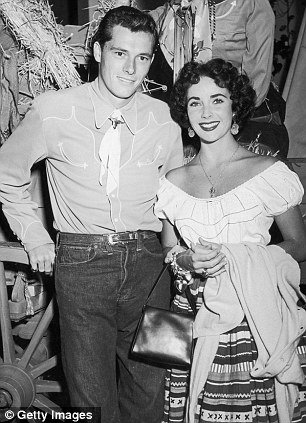 Stars in her eyes: Ms Taylor with first husband, hotel heir Conrad 'Nicky' Hilton Jr, circa 1951, left, and again with husband Burton, circa 1971, right
