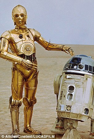 Ash, the Autonomous Shipboard Firefighting Robot, left, was modelled on the Star Wars character C-3PO
