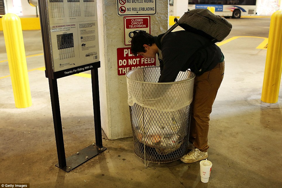 A 21 year-old addicted to heroin looks for food in a garbage can in Camden, which is now the united States' most impoverished city