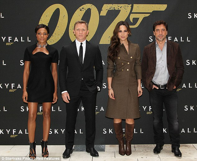 Licence to thrill: The leading ladies were joined at the event by James Bond himself, Daniel Craig (C), and 007 villain Javier Bardem (R)