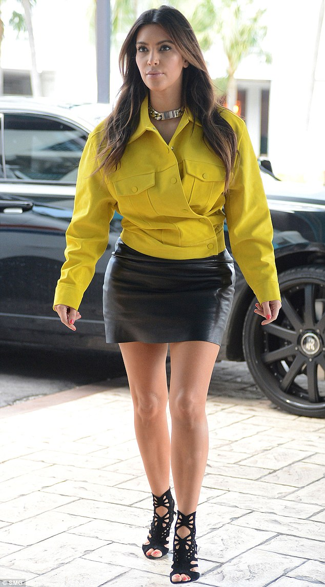 Style misstep: Kim Kardashian put herself on the worst dressed list for this outfit, which she wore in Miami on October 12