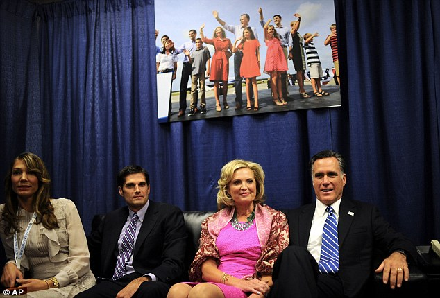 In waiting: Romney, his wife Ann, their son Matt and his wife Laurie sit backstage before the debate