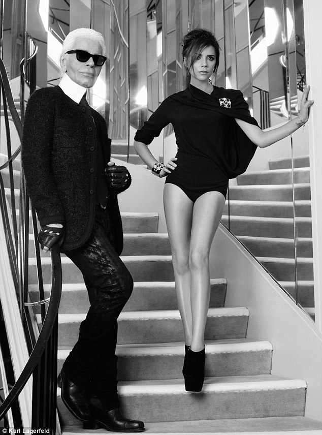 A dream come true: Victoria Beckham poses with Karl Lagerfeld at Coco Chanel's famous home