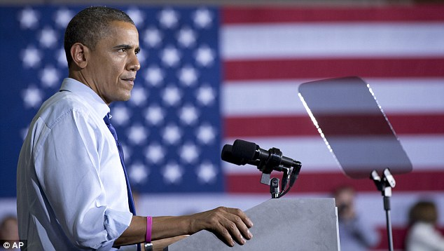 Alleged target: Obama pictured making a speech today at Cornell College in Mount Vernon, Iowa