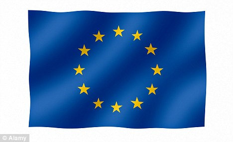 Over half of those surveyed said they would vote to leave the EU (flag pictured) while just 34 per cent would choose to stay