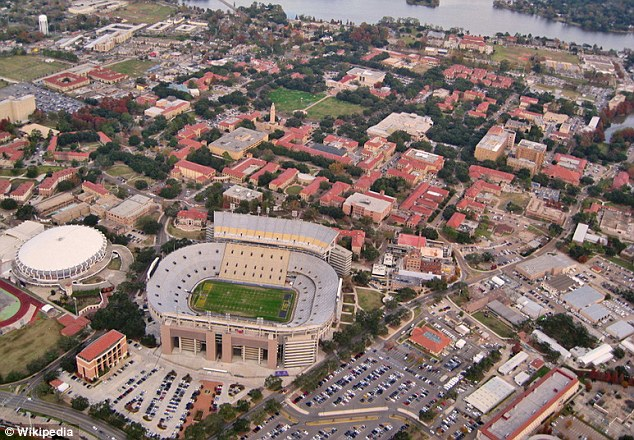 Top: LSU, which has one of the top ranked college football teams in the country, in in Baton Rouge, Louisiana