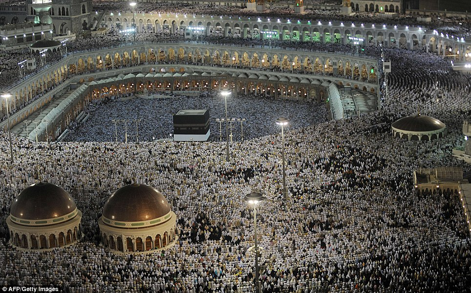 Huge gathering: Muslim pilgrims perform their evening prayers in the Grand Mosque on Monday. The annual haj pilgrimage is one of the five pillars of Islam