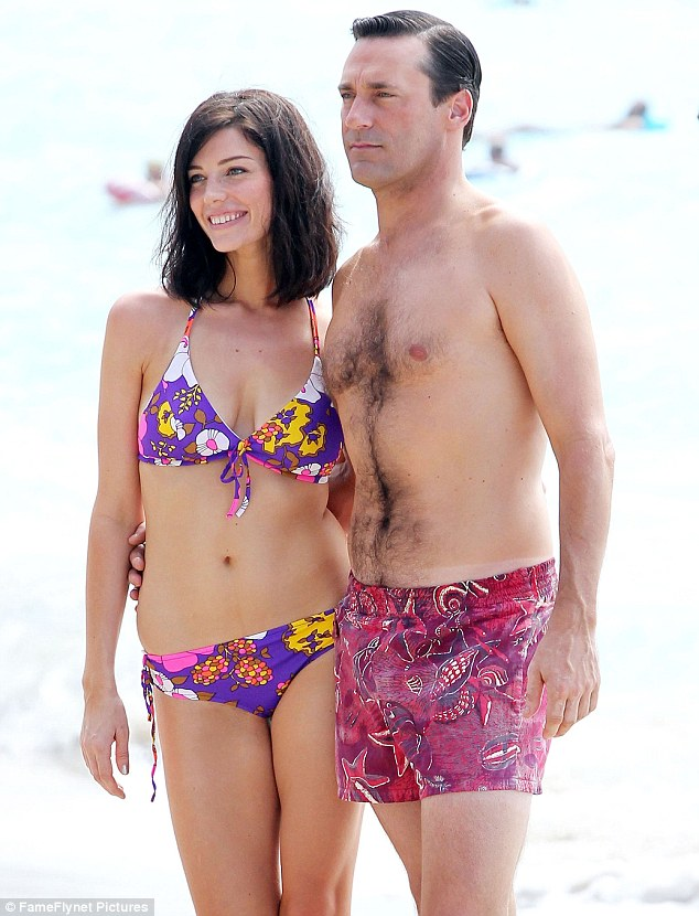 Aloha! Jon Hamm and Jessica Paré, who play Don and Megan Draper in Mad Men, were seen shooting scenes for the season six premiere of the show in Hawaii