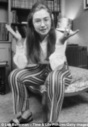 Funny face: Long before the now ubiquitous 'texts from' meme and scrunchie-themed misgivings, it seems Mrs Clinton's vivacious personality was well in tact
